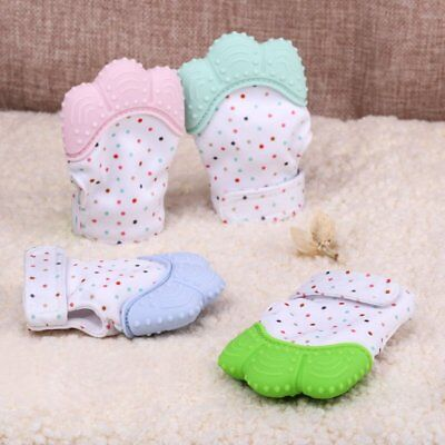 Cute Safe Silicone Baby Mitten Teething Glove Candy Wrapper Sound Teether HU
