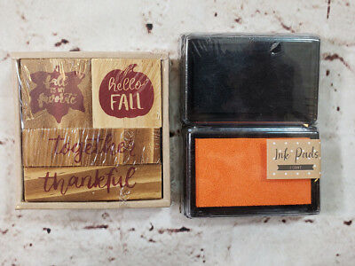 Set of 4 Fall Season Wooden Stampers with 2 Color Ink Pad NEW