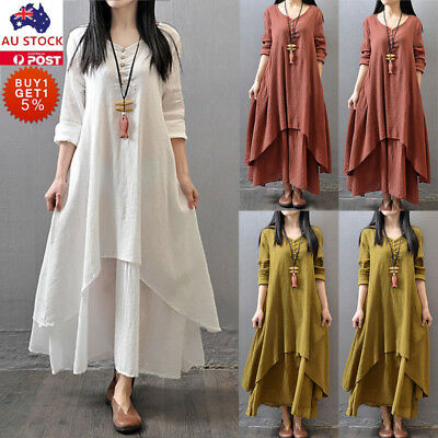 Plus Size Women Cotton Linen Long Sleeve Maxi Dress Kaftan Holiday Casual Dress