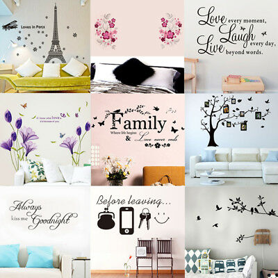 Wall Stickers Removable Art Vinyl Quote Flower Decal Mural Home Room DIY Decor