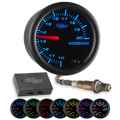 GlowShift Black 7 Color Needle Wideband Air/Fuel Ratio AFR Gauge w Data Logging