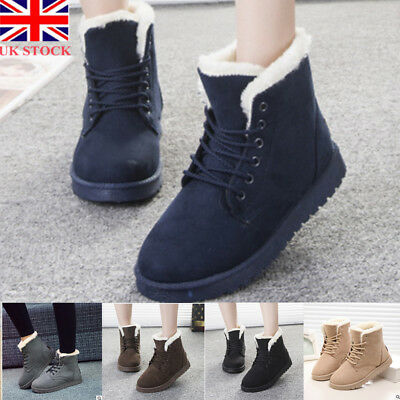 Womens Ladies Fleece Flat Lace Up Fur Winter Snow Boots Martin Ankle Boots Shoes