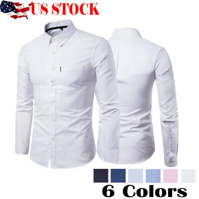 US STOCK New Mens Fashion Luxury Casual Style Slim Fit Dress Long Sleeves Shirts