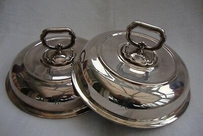 Antique Good Quality Silver Plated Bowl Covers Tureen Lids Circular Initialed