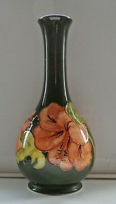 Moorcroft Vase in Green with Hibiscus Drilled Ready For Lamp Wire 9 Inches High