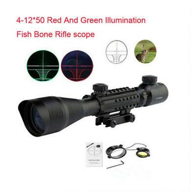 Tactical Riflescope 4-12x50 EG Red Green Scope Dual Illuminated With Side Rail