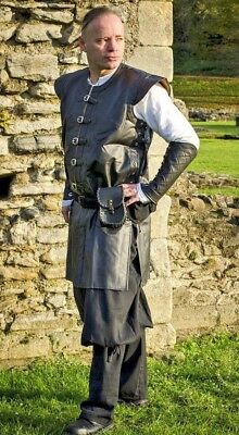 Faux Leather Black and Brown Surcoat Armour Knight Medieval Fancy Dress LARP