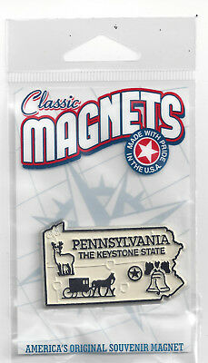 """PENNSYLVANIA """"THE KEYSTONE  STATE """"  PA  OUTLINE MAP MAGNET in Souvenir Bag, NEW"""