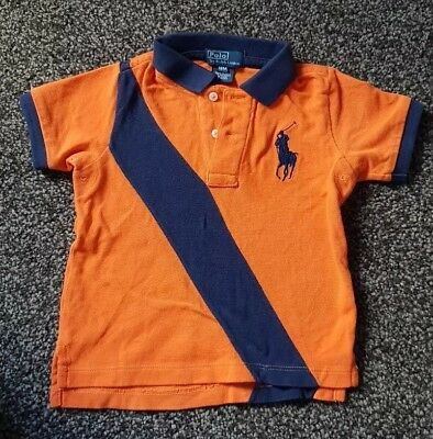 Baby Boys Ralph Lauren 18m months Polo Orange Navy Blue