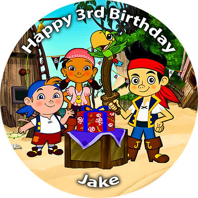 """1 x 7.5/"""" Jake and the Neverland Pirates PERSONALISED Wafer Paper Cake Topper"""