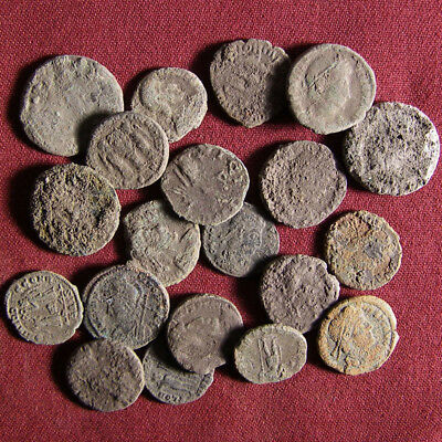 Lot of 20 uncleaned late Roman bronze coin