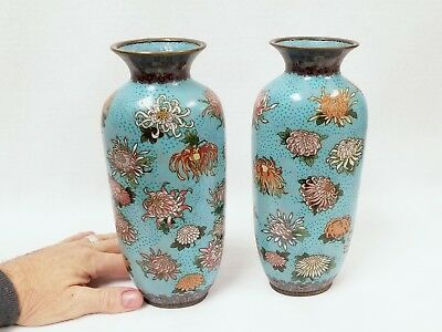Pair Fine Quality Antique Chinese Cloisonne' Vases with Chrysanthemum Decoration