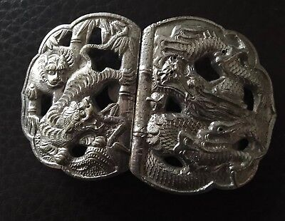 Silver Coloured White Metal Nurses Buckle Dragon & Monkey, Chinese? Marked '84'?