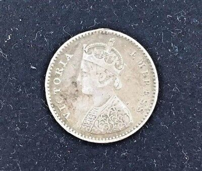 1884 India-British 2 Annas Silver Coin Scarce