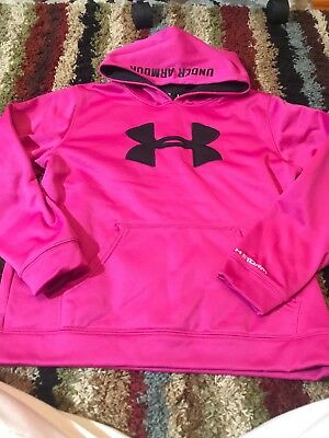 Youth Girls Size Large L Under Armour Pink Hoodie Long Sleeve