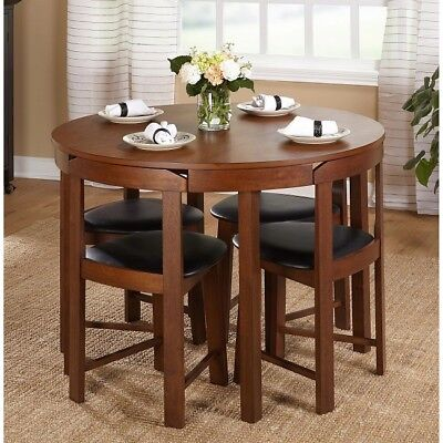 Compact Dining Set 5 Piece Round Walnut Kitchen Small Space Saving Table Wood