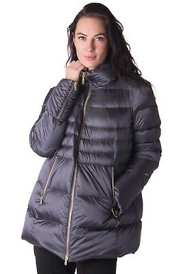 GEOSPIRIT Down Quilted Jacket Size 46 / XL Grey Zipped Cuffs Funnel Neck RRP€550