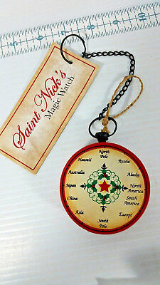 Saint Nick's Magic Pocket Watch Wood Ornament W Metal Chain Santa Claus