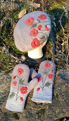 Ooak Hand Made Hand Felted Eco Wool Merino Gloves Poppies Grey Red