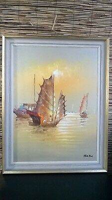 Tang Ping Vintage Oil On Canvas The Crescent Moon, Kitsch Art