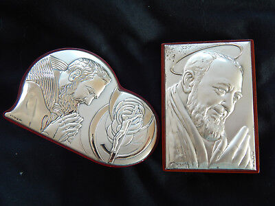 2 Stamped Silver Religious Plaques Icons