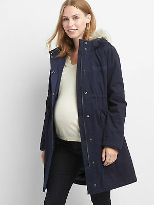 Gap Maternity Primaloft Parka Coat- Dark Night Navy Nwt $198 Sz S Small