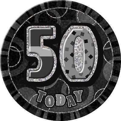 "Badge ""50 Today"" Unisex 50th Birthday Party Age 50 Glitz Black Wearables"