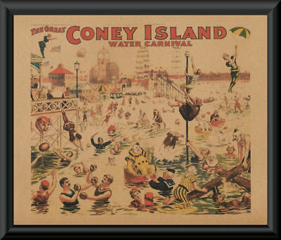 Coney Island Carnival Advertisement Poster Reprint On 100 Year Old Paper *P177