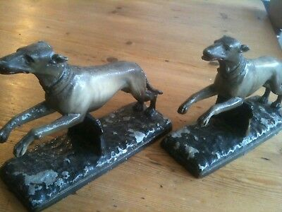 ANTIQUE / VINTAGE 1930s PAIR OF SPELTER ASCO GREYHOUNDS ORIGINAL PAINT.