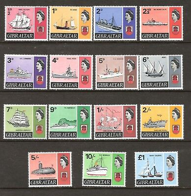 Gibraltar 1967 Qeii Ships Definitive Set Of 15 Very Lightly Mounted Mint