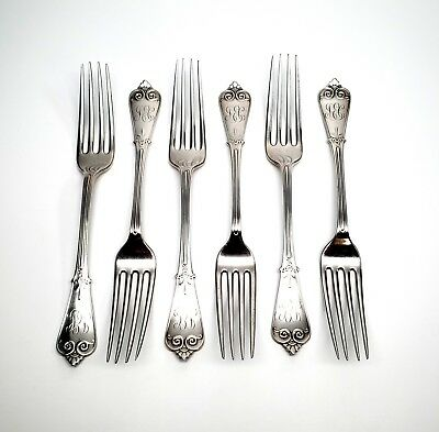 Set Of 6 Tiffany & Co Beekman Sterling Silver Salad/Dessert Forks With Monogram