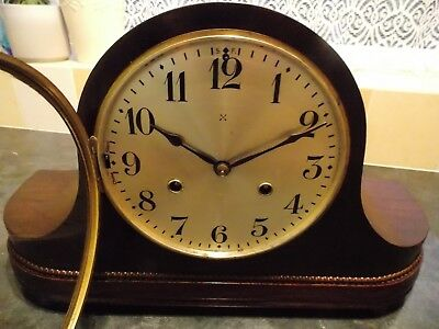 Vintage HAC two train Westminster mantel clock, working but sold as a project.