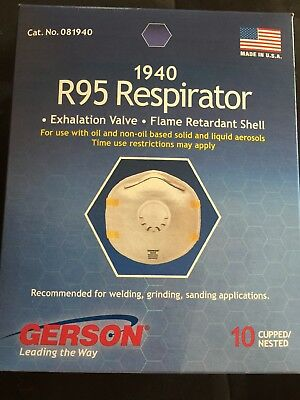 Gerson 1940 R95 Respirator/Mask with Check Valve, Box of 10, Made in USA