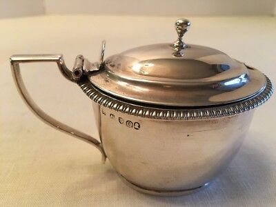 Old Antique English Sterling Silver MUSTARD Condiment Pot COBALT LINER 270 Grams