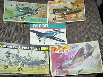 (5) 1:72nd Scale : WW2 PACIFIC WAR Aircraft Model Kits  Wildcat Hellcat Corsair+