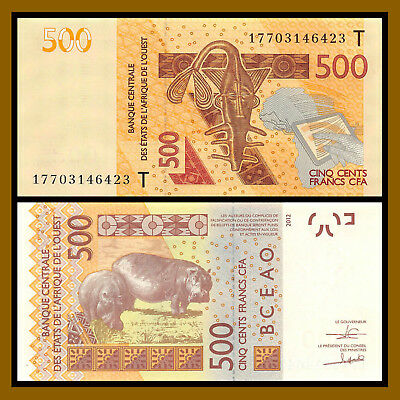 W.A.S West African States, Togo 500 Francs, 2017 P-819T Mask Hippos Unc
