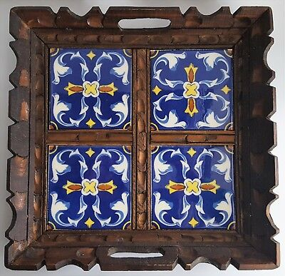 Vintage Talavera Style Tile Tray Carved Wooden Tray Mexican Folk Art Handmade