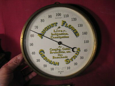 Scarce August Flower German Syrup Brass Bound Advertising Thermometer