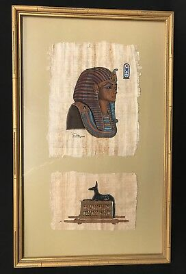 """Vintage Egyptian Art Painting Papyrus Paper Custom Framed Gold 20"""" x 12"""""""