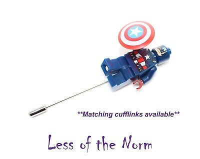 CAPTAIN AMERICA Superhero Buttonhole Button Hole Lapel Pin Wedding Pageboy