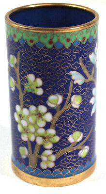 "Beautiful Cloisonne Vase Blue Floral Branches Green Border  4"" Tall"