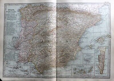 1903 Map Of Spain And Portugal.