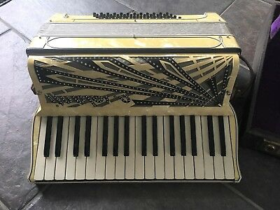 Vtg Nicolo Salanti Mother of Pearl Rhinestone Accordion w/ Case & Sheet Music