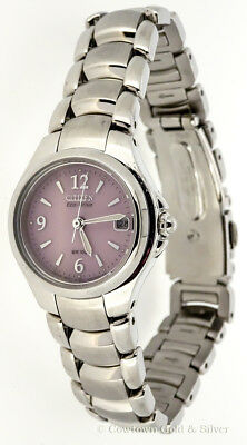 New Citizen Eco-Drive Ladies Pink Dial Stainless Steel Watch  Ew1170-51X