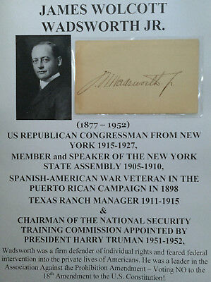 SPANISH-AMERICAN WAR NoPROHIBITION CONGRESSMAN NY TEXAS RANCHER AUTOGRAPH SIGNED