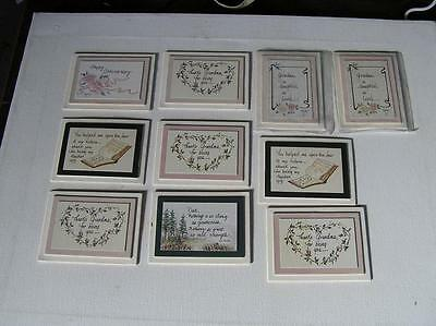 "Lot of 10 Handmade ""Motto"" magnets for the Refrigerator 3"" x 4"" Grandma etc.."