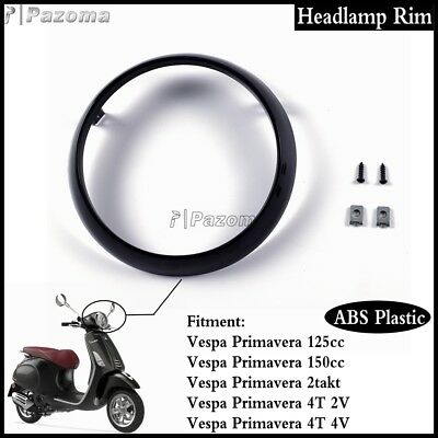 Black Motorcycle Scooter Headlamp Rim ABS Light Ring For Vespa Primavera 125cc