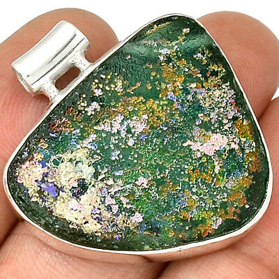 Ancient Roman Glass 925 Sterling Silver Pendant Jewelry AP11886