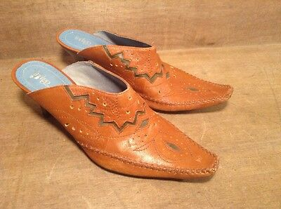 Indigo Clarks Pointy Toed Leather Mules / Heels - Womens 8.5 M