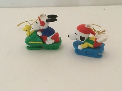 2 Snoopy PVC Ornaments Snoopy & Woodstock Snowmobile & Snoopy Sledding